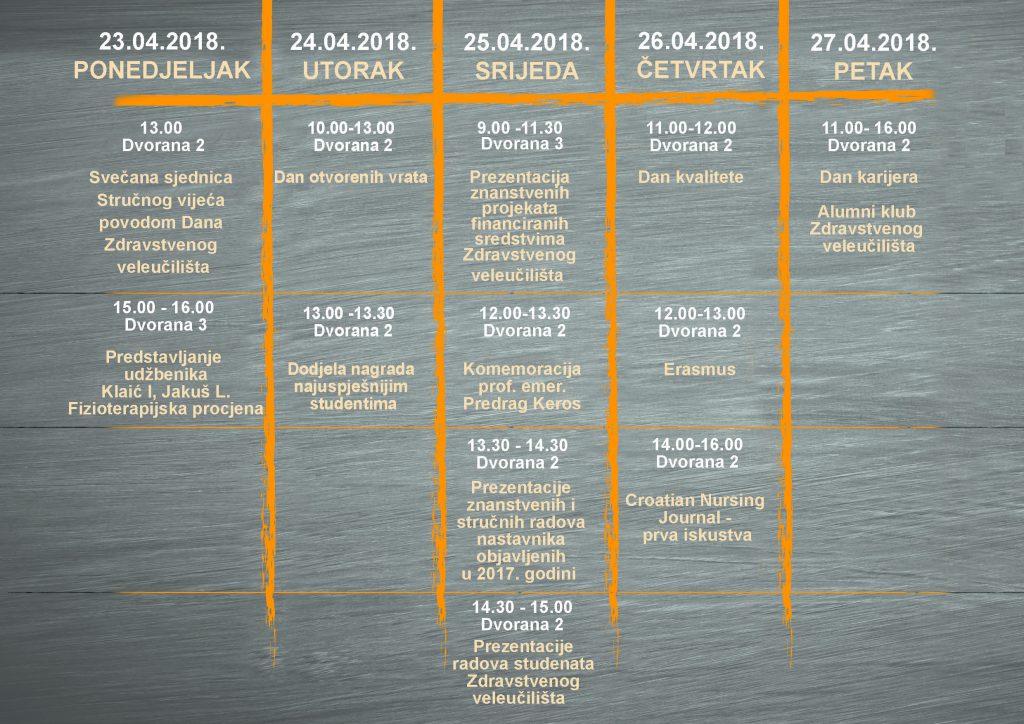 Dani Zdravstvenog veleučilišta 2018. - Raspored događaja